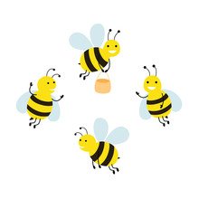 Set Funny Cartoon Bees. Vector Illustration Isolated On White Background.