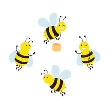 Set Funny Cartoon Bees. Vector...