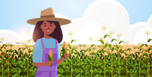 Woman Farmer Holding Corn Cob African American Countrywoman In Overalls Standing On Corn Field Organic Agriculture Farming Harvesting Season Concept Flat Portrait Horizontal Vector Illustration
