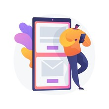 Mobile Messaging. Modern Communication Technology, Online Chatting, SMS Texting. Modern Leisure Activity. Guy Checking Email Inbox With Smartphone. Vector Isolated Concept Metaphor Illustration