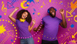 canvas print picture - Couple with headset listen to music and dance with energy on violet background with pop shapes
