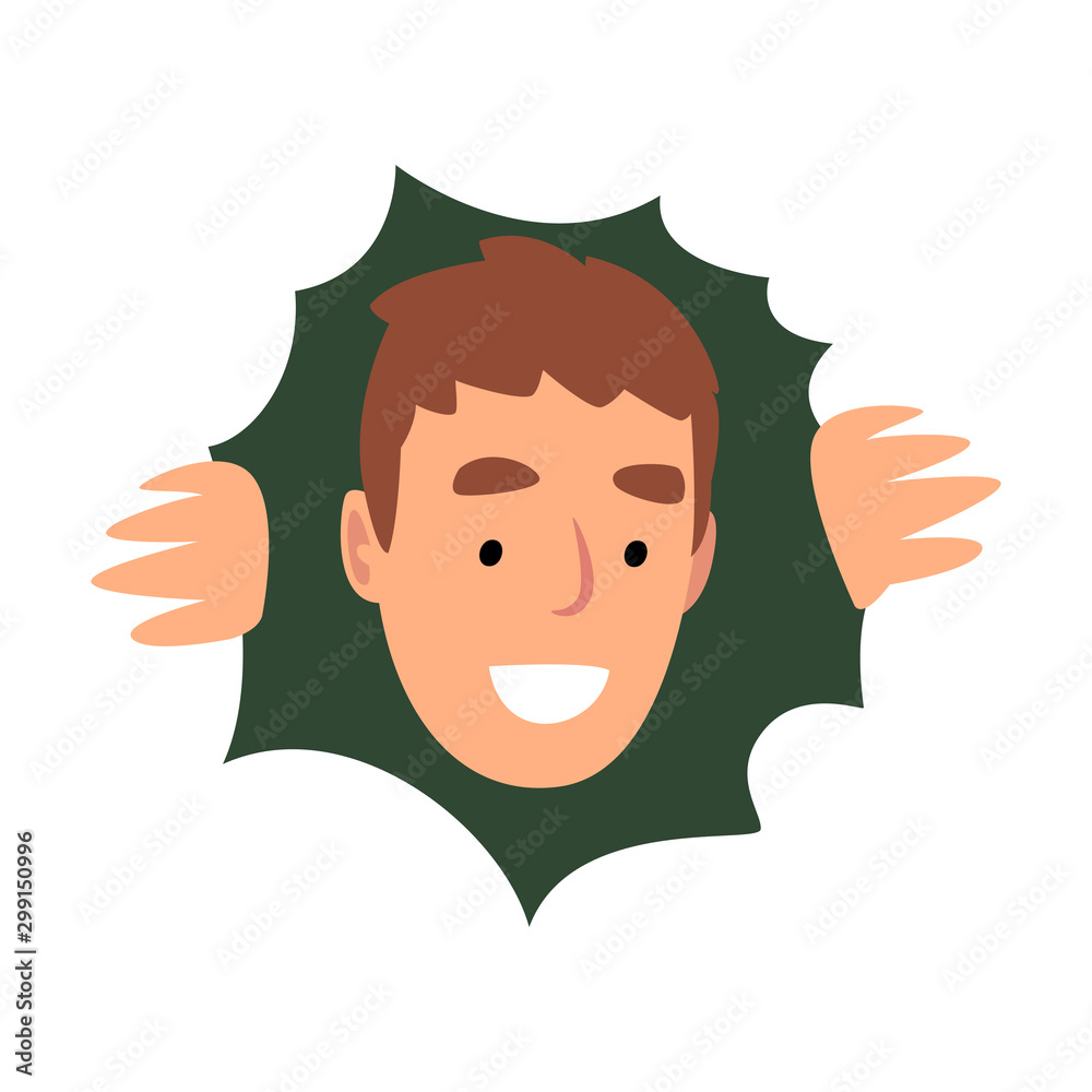 Fototapety, obrazy: Young Smiling Male Character Hiding in Bushes and Looking Out, View from Above Vector Illustration