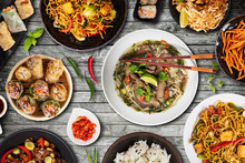 Top View Composition Of Various Asian Food