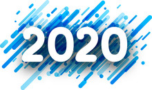 2020 New Year Sign With Blue P...