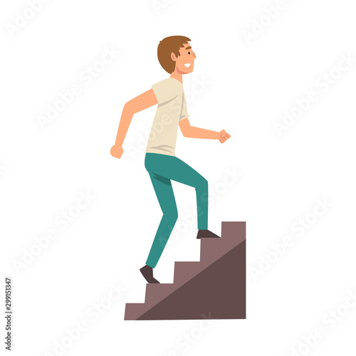 Young Man in Casual Clothes Walking up Stairway Vector Illustration