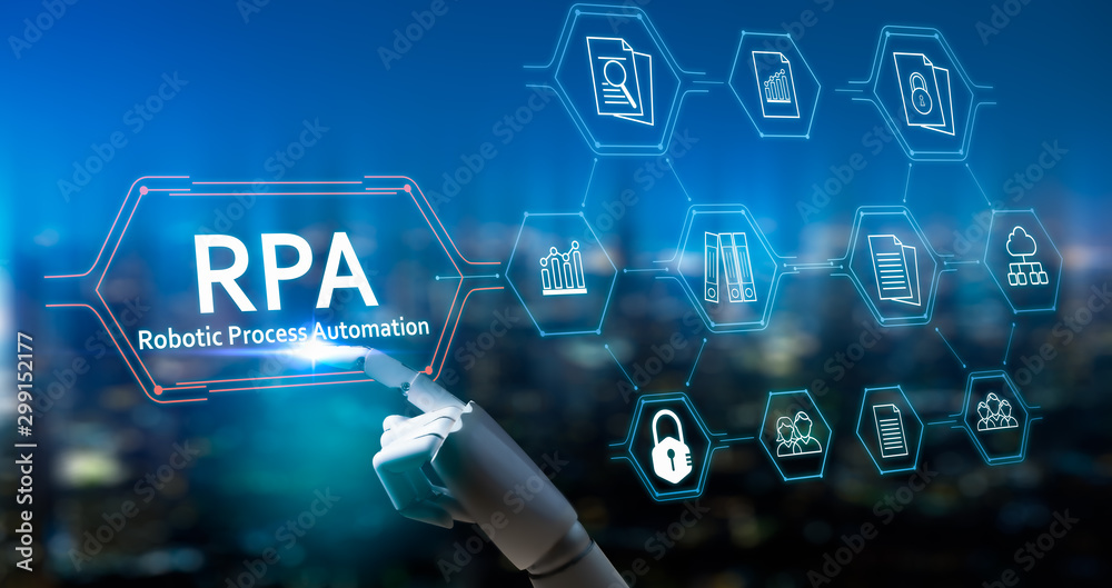 Fototapety, obrazy: RPA (Robotic Process Automation system),Artificial intelligence , Robot finger,robo advisor ,Big data and business concept.Robot finger on blurred background using digital RPA interface.
