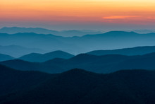 Scenic Drive From Cowee Mountain Overlook On Blue Ridge Parkway At Sunset Time.