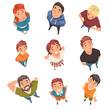 Cheerful People Characters Looking Up Set, View from Above Vector Illustration