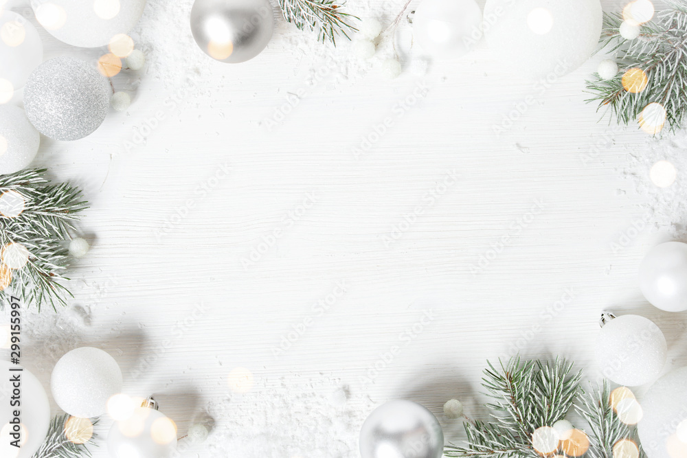 Fototapety, obrazy: White Christmas background with spruce frosty brunches and Christmas lights