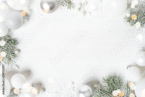 White Christmas background with spruce frosty brunches and Christmas lights Obraz na płótnie