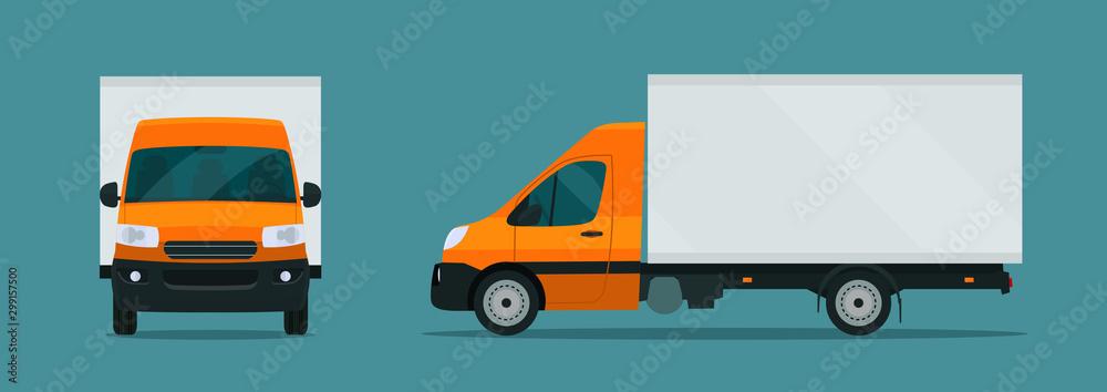 Fototapeta Сargo van isolated. Сargo van with side and front view. Vector flat style illustration.