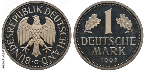 Fototapeta Germany German coin 1 one mark 1982, eagle surrounded by country name, denomination flanked by oak leaves, date below, obraz