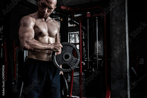 Fotomural  Portrait of asian man big muscle at the gym,Thailand people,Workout for good hea