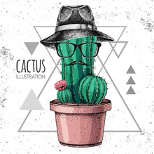 Hand Drawing Hipster Cactus With Mustache And Hat. Vector Illustration On Grunge Triangle Background