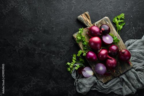 Obraz na płótnie Fresh red onions on black background. Top view. Free copy space.