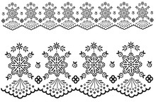 Lace Seamless Pattern. 3Dillustration. Technical Drawing. Embroidery Artwork. Vector Line Graphic. Broderie Anglaise