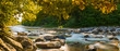 Herbstpanorama am Fluss mit goldenen Sonnenstrahlen