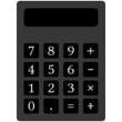 Icon-Symbol eines simplen Taschenrechners, isoliert freigestellt vor weißem Hintergrund