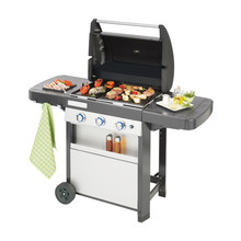BBQ Grill Isolated On White Background. Barbecue Gas Grill With Food. Stainless Steel And Black BBQ Grillware Gas Grill. Outdoor Grill Table. Outdoor Cooking Station