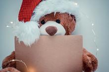 Christmas Card With Teddy Bear...