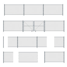 Various Elements Of Wire Fence: Gate, Posts, Stainless Steel Mesh.