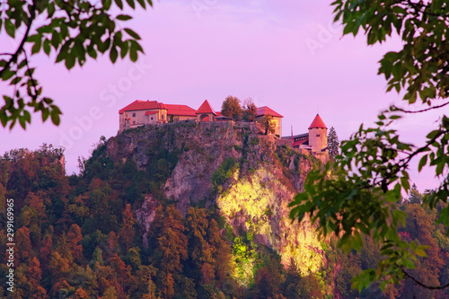 Foto auf Gartenposter Flieder Scenic landscape photo of Bled Castle on the top of the rock during sunrise. Tree Leaves Border. Natural Frame. Famous touristic place and romantic travel destination in Slovenia