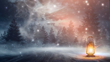 Night Lamp, Snow. Night Scene...