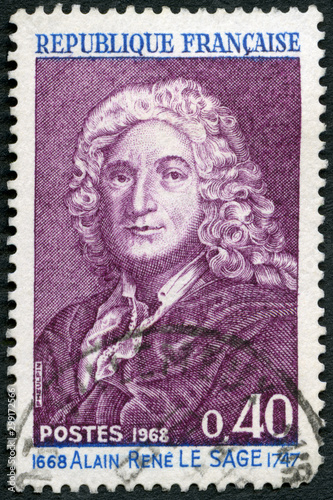 FRANCE - 1968: shows Alain Rene Le Sage (1668-1747), novelist  and playwright, 1 Canvas Print