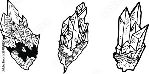 Photo  Crystal Illustration Line Art Vector Set