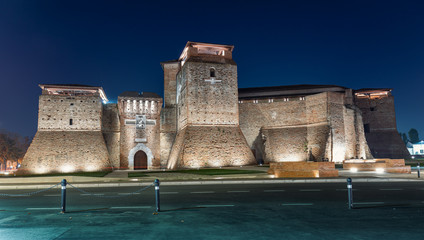 Rimini, Castel Sismondo night view. Famous medieval castle in town.