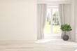 Leinwanddruck Bild - Stylish empty room in white color with summer landscape in window. Scandinavian interior design. 3D illustration