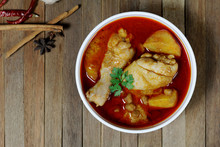 Chicken Mussaman Curry On White Bowl