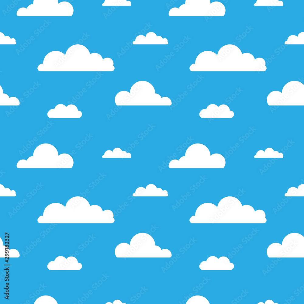 Fototapety, obrazy: Seamless vector pattern with clouds on blue background. Cartoon modern white clouds in flat design isolated. Design for web page backgrounds, fabric, wallpaper, textile and decor