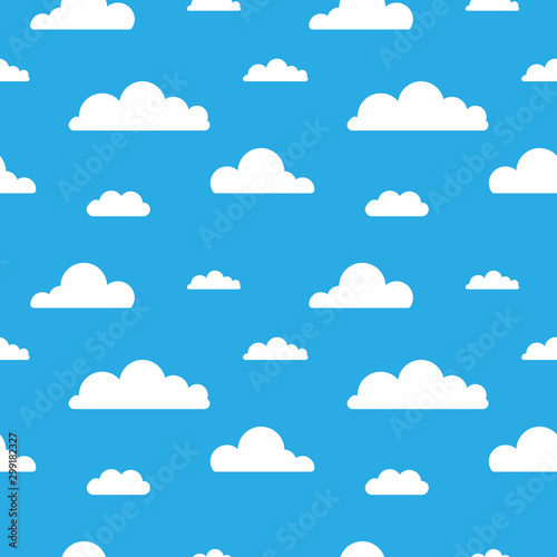 Fototapeta  Seamless vector pattern with clouds on blue background