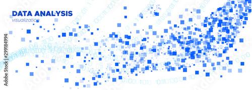 Matrix Digits. Blue Particle Movement. White Canvas Print