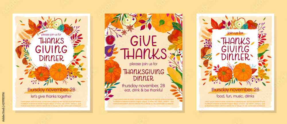 Fototapety, obrazy: Bundle of Thanksgiving dinner templates with pumpkins,mushrooms,corn,apples,figs,wheat,plants,leaves,berries and floral elements.Holiday invitations design.Trendy autumn vector illustrations.