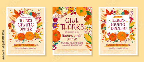 Bundle of Thanksgiving dinner templates with pumpkins,mushrooms,corn,apples,figs,wheat,plants,leaves,berries and floral elements Obraz na płótnie