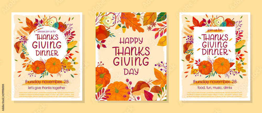 Fototapety, obrazy: Bundle of Thanksgiving dinner templates with pumpkins,mushrooms,corn,apples,wheat,plants,leaves,berries and floral elements.Holiday invitations design.Trendy autumn vector illustrations.