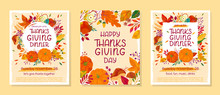 Bundle Of Thanksgiving Dinner Templates With Pumpkins,mushrooms,corn,apples,wheat,plants,leaves,berries And Floral Elements.Holiday Invitations Design.Trendy Autumn Vector Illustrations.