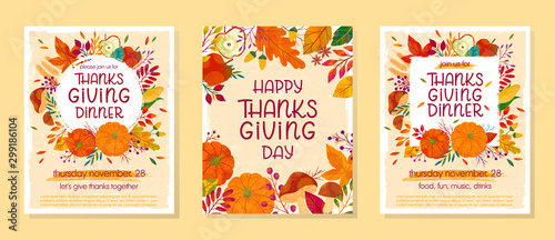 Cuadros en Lienzo Bundle of Thanksgiving dinner templates with pumpkins,mushrooms,corn,apples,wheat,plants,leaves,berries and floral elements