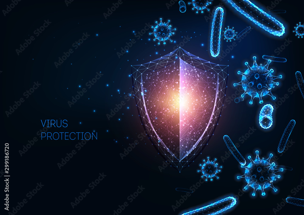 Fototapeta Futuristic immune system protection with glowing low polygonal shield, virus and bacteria cells.