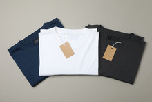 Folded Blank T-shirts With Tag...