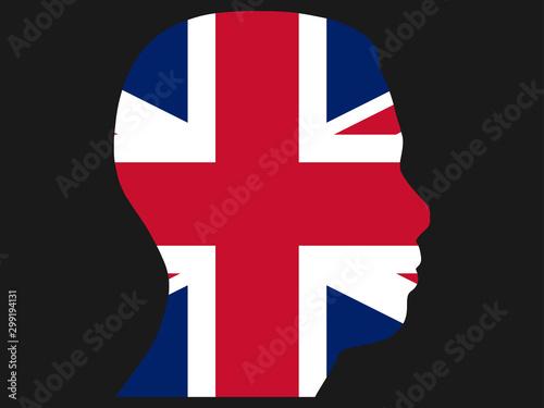 Photo Flag of the United Kingdom in Man Head Shape 3D Vector illustration eps 10
