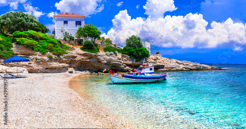Greece. Idyllic beautiful beaches of Samos island - beautiful Limnionas bay with crystal sea.