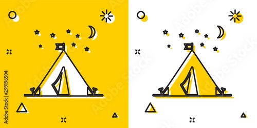Obraz na plátně  Black Tourist tent with flag icon isolated on yellow and white background