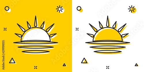 Foto auf Leinwand Weiß Black Sunset icon isolated on yellow and white background. Random dynamic shapes. Vector Illustration