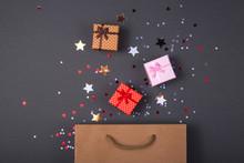 Kraft Paper Bag On Bright Dark...
