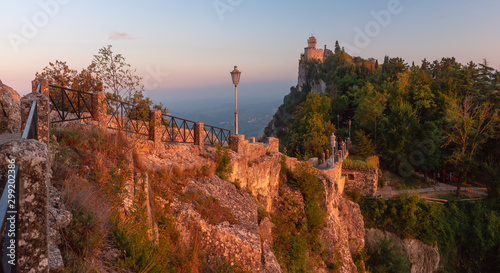 Panorama of De La Fratta or Cesta, Second Tower on Mount Titano, in city of San Marino of Republic of San Marino during gold hour at sunset