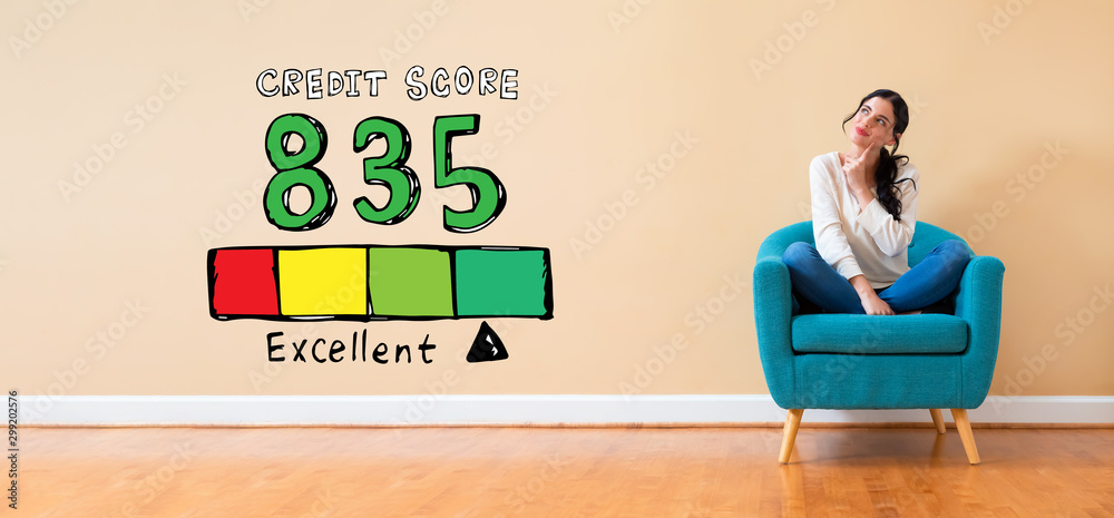 Fototapeta Excellent credit score theme with woman in a thoughtful pose in a chair