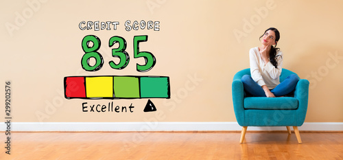 Fotomural  Excellent credit score theme with woman in a thoughtful pose in a chair
